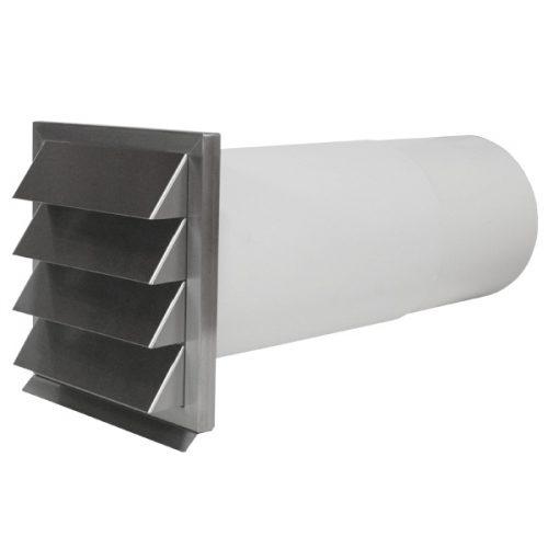 Edelstahl Mauerkasten mit Teleskoprohr für Dunstabzugshauben